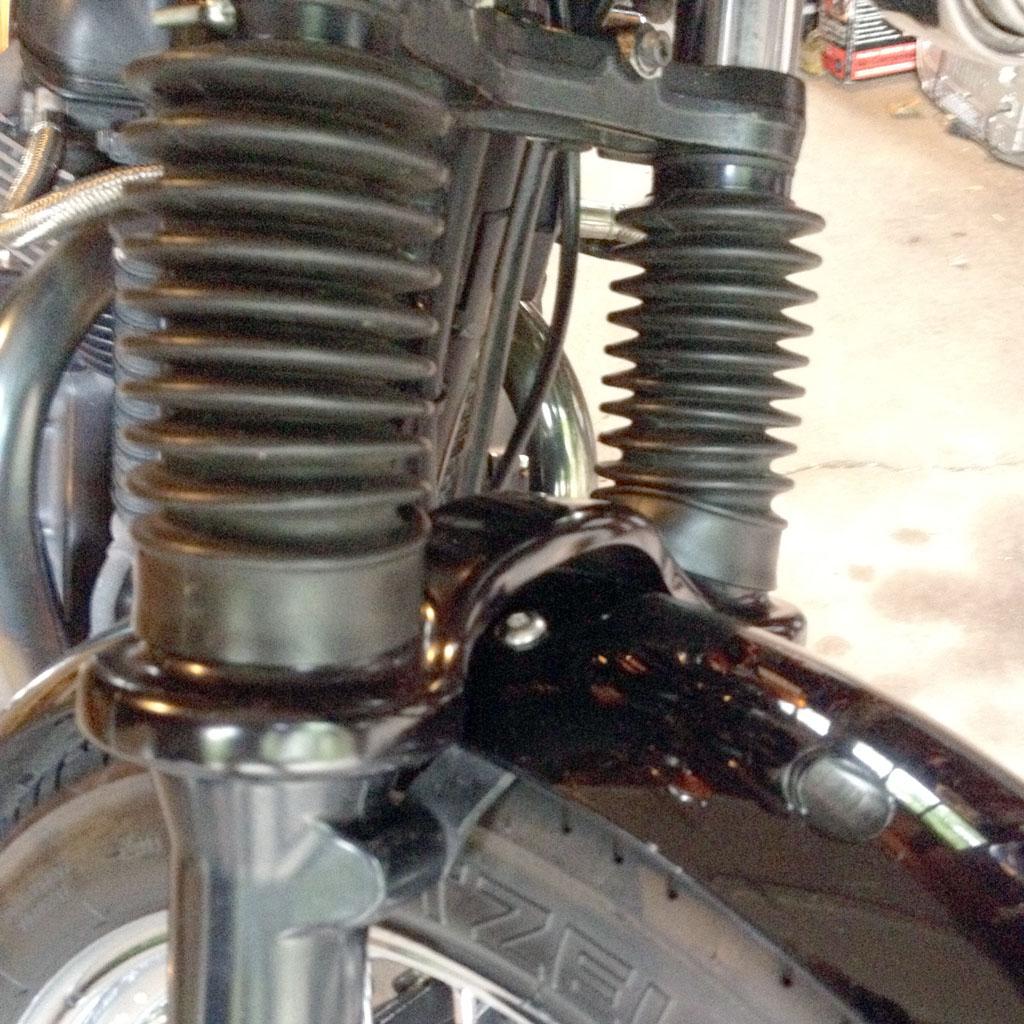superbrace fork brace with gaiters installation | triumph