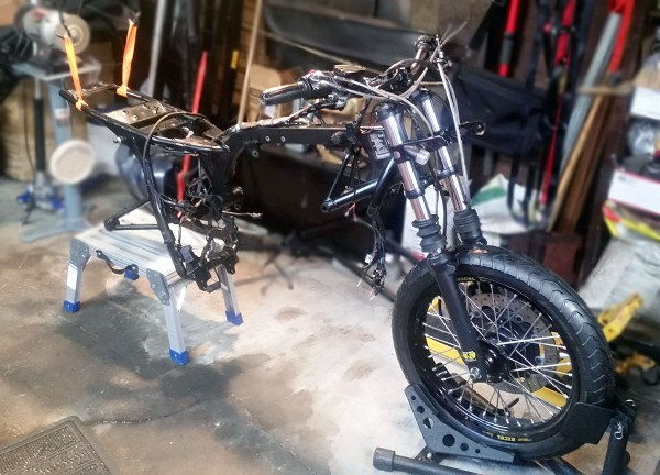Front Forks, Bars and Wheel Assembly Installed
