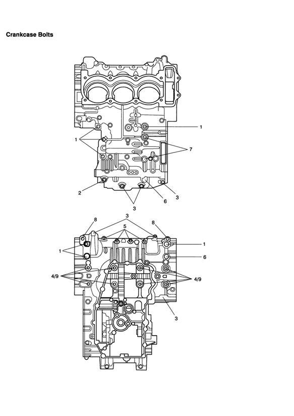 2008 Triumph Speed Triple Bolt, HHF, M8 x 105, Slv. Engine
