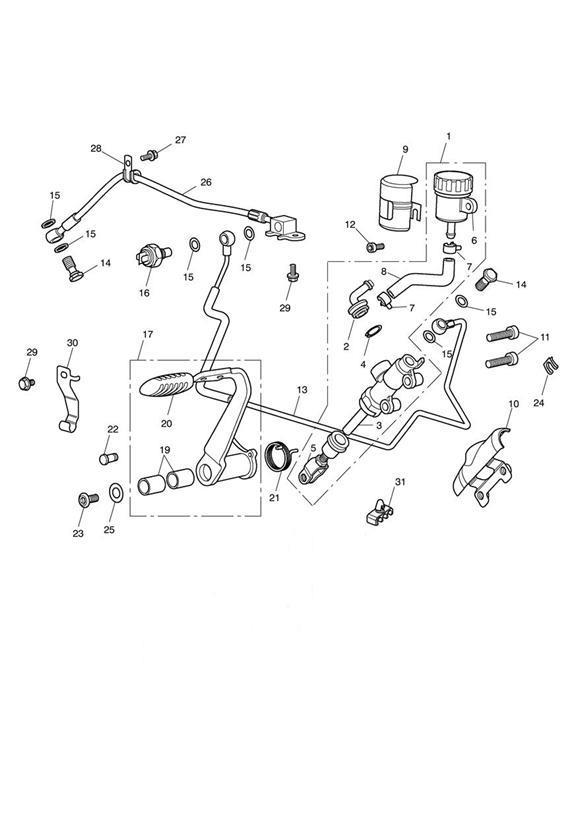 2014 Triumph Thunderbird Clip, Retention, Brake Pipe