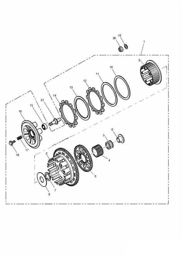 1993 Triumph Tiger Clutch assembly. Transmission, Engine