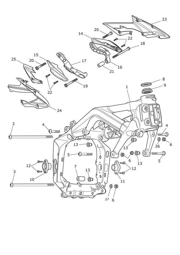 2014 Triumph Daytona Bolt, TX, M10 x 266 LG. Main, Frame