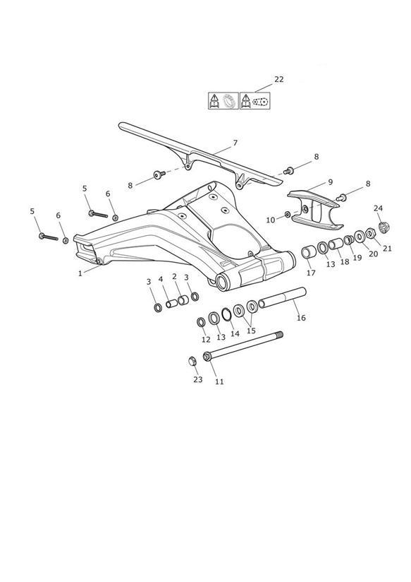 2006 Triumph Daytona Chain Rubbing Strip. Rear, Suspension