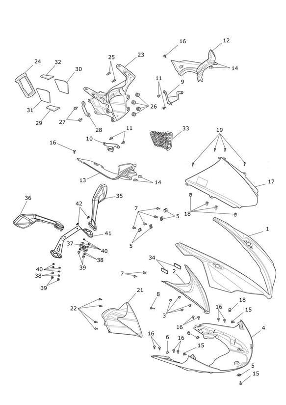 2014 Triumph Daytona Cable Guide, Headstock. System