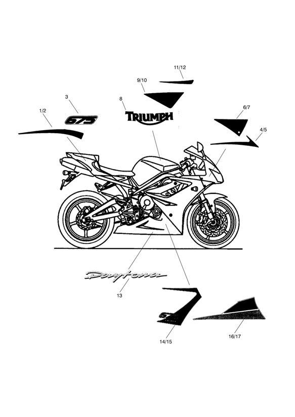 2015 Triumph Daytona Decal, Fuel Tank. Decals, Bodywork