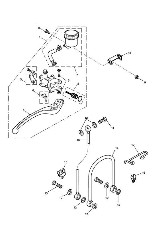 2013 Triumph Daytona Wire Guide, Brake Hose. Master, Hoses