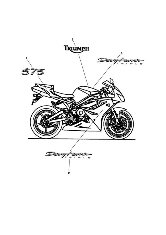 2015 Triumph Daytona Decal, Rear Panel. Use On Red