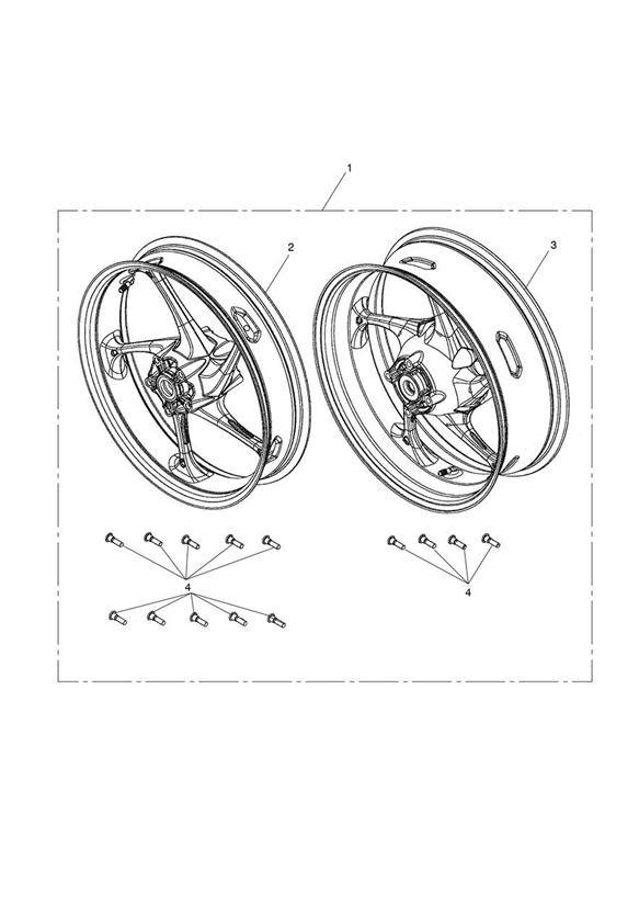 2013 Triumph Daytona Wheel Kit, Pair, Race. SILENCERS