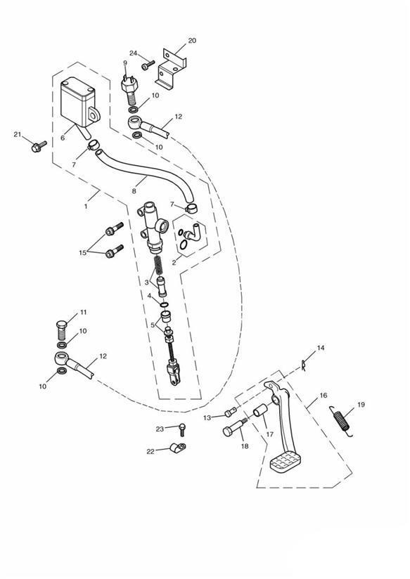 2002 Triumph Bonneville Bracket reservoir. Brake, Master