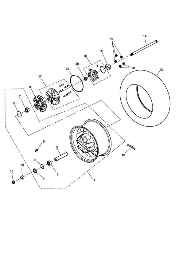 2008 Triumph Rocket III Rear Wheel Assy. Wheels, Tires