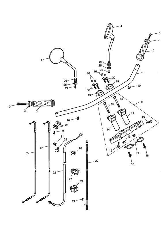 2008 Triumph Speedmaster Cable Guide, Wire. Mirrors