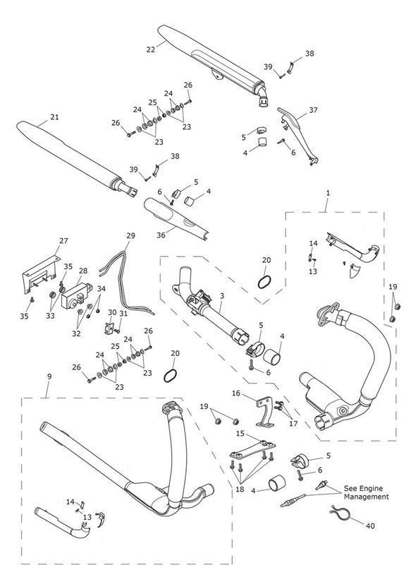 2012 Triumph Thunderbird Exhaust, Header Assy, RH, Fab