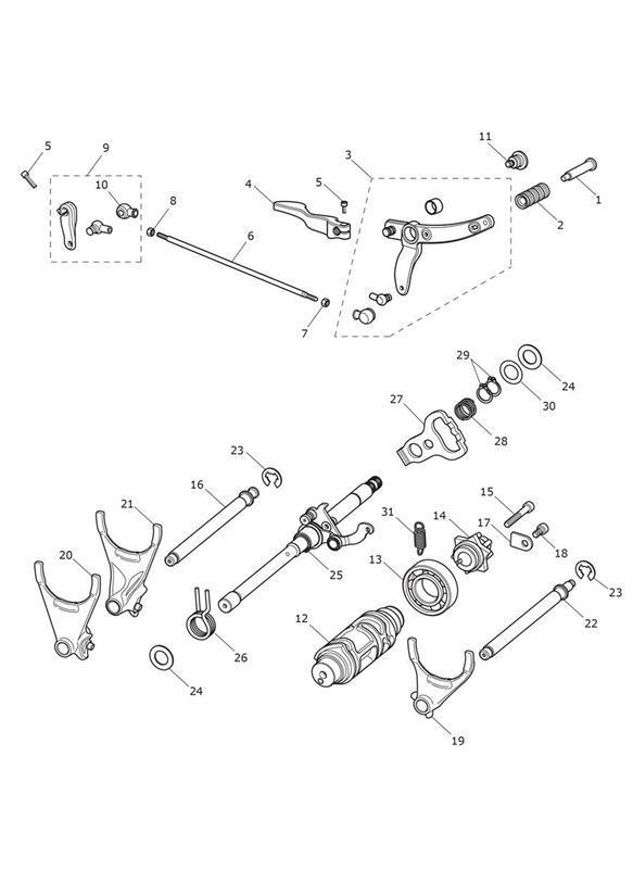 2012 Triumph Thunderbird Spring, Detent, Arm. Transmission