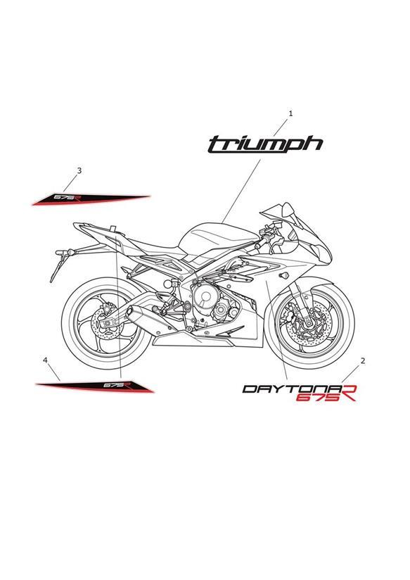2007 Triumph Daytona Decal, Upper Fairing. White Bikes