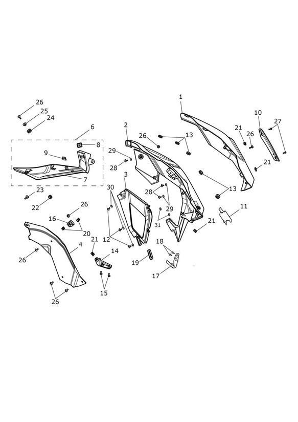 2012 Triumph Tiger Grommet; 11.8 x 2.5 x 10. Bodywork