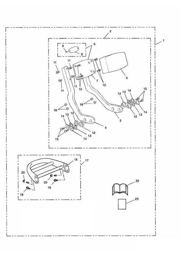 2001 Triumph Adventurer Passenger Backrest Pad. Kit