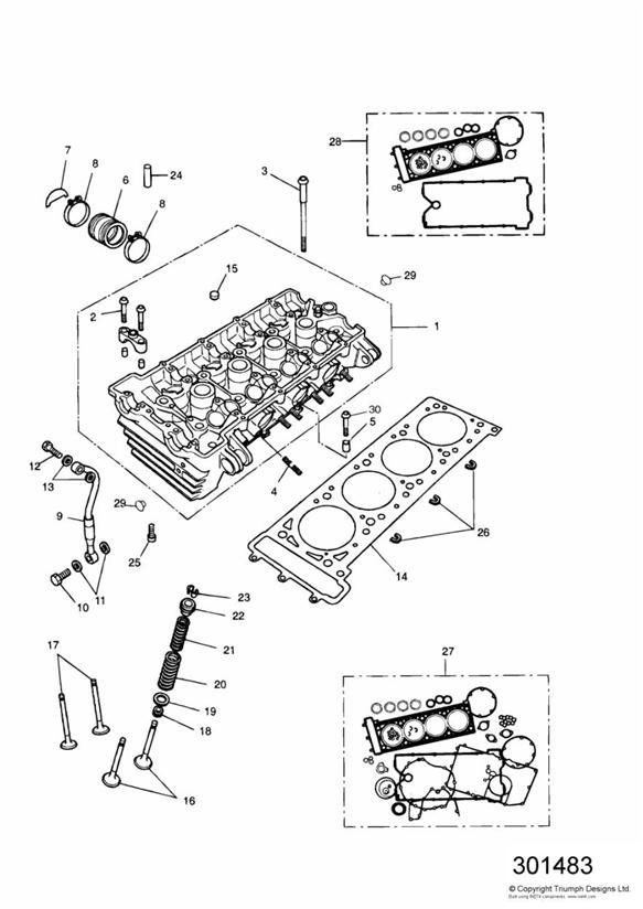 1993 Triumph Daytona Cylinder head gasket. 3 Cyl. Engine
