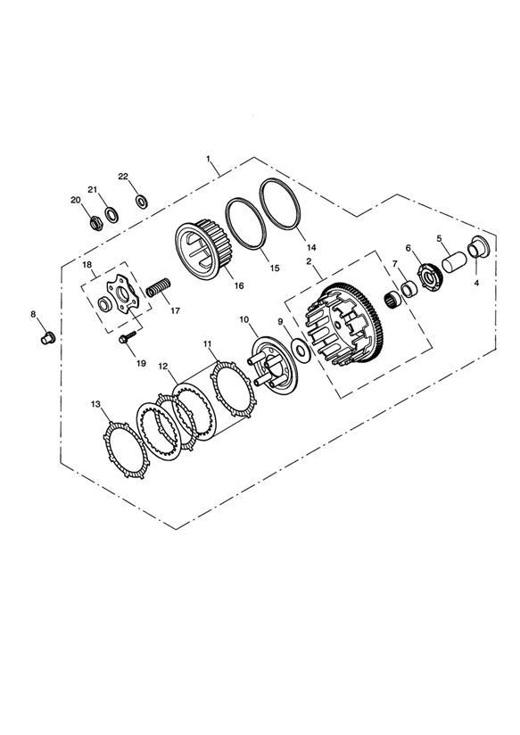 2003 Triumph Daytona Clutch assembly. Transmission, Vin
