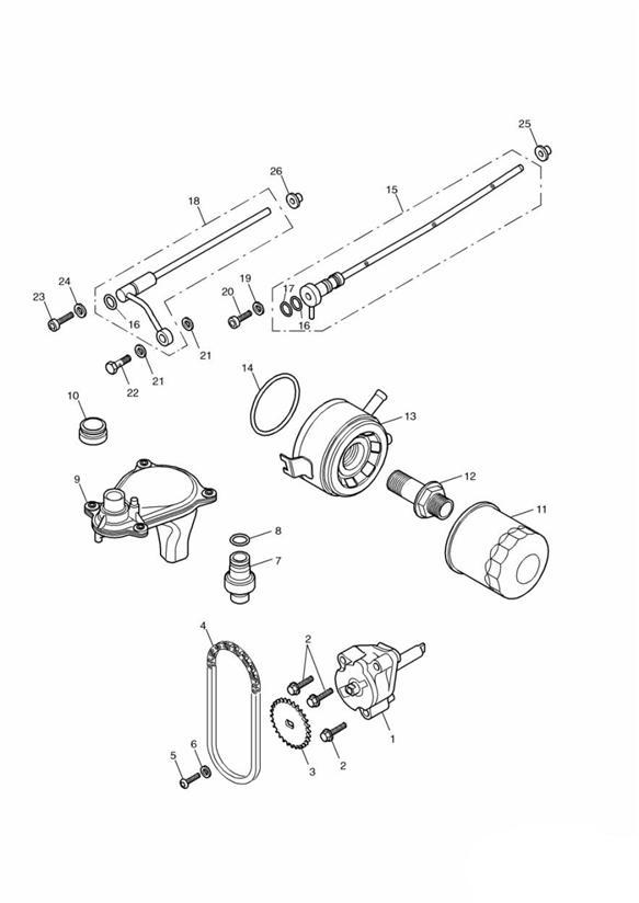 2004 Triumph Daytona Pipe oil. Engine, System, Lubrication
