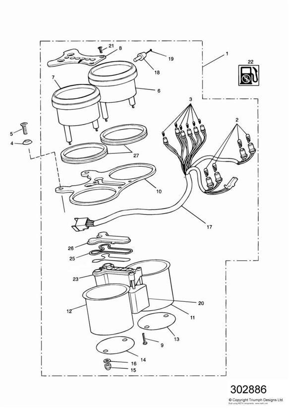 1994 Triumph Speed Triple Tachometer. System, Instruments