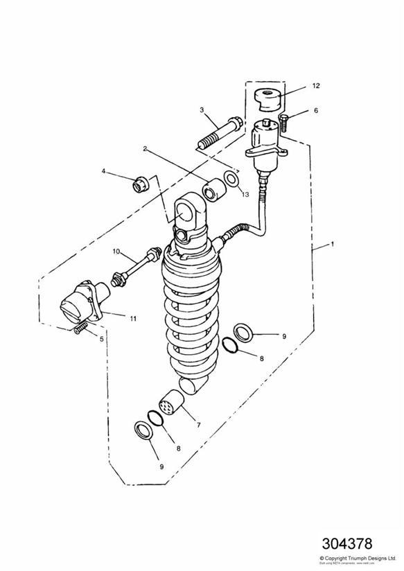 1997 Triumph Trident Adjuster. Suspension, Rear, Unit