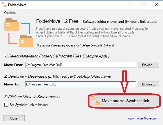folder move and set symbolic link