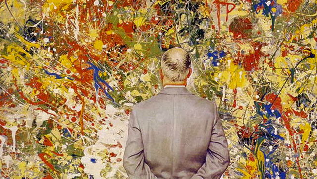 Norman Rockwell made fun of Jackson Pollock by painting