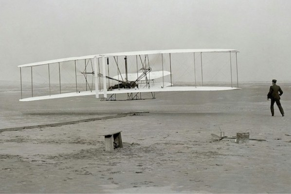The Wright Brothers' first flight. John T. Daniels photo from Library of Congress via Wikipedia