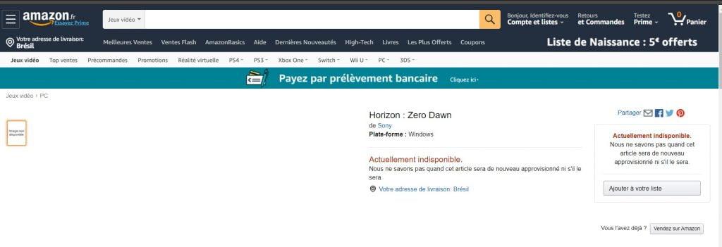 Horizon Zero Dawn é listado para PC pela Amazon 1