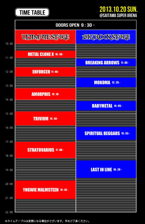 LoudPark 13 Timetable 10/20 Trivium