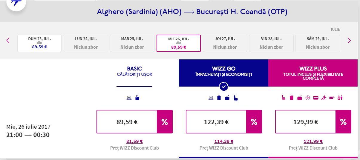 Alghero – Bucuresti