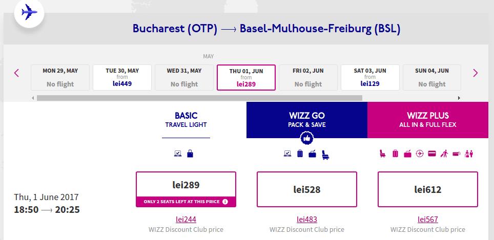 Bucuresti - Elvetia - Basel - 1 iunie 53 euro