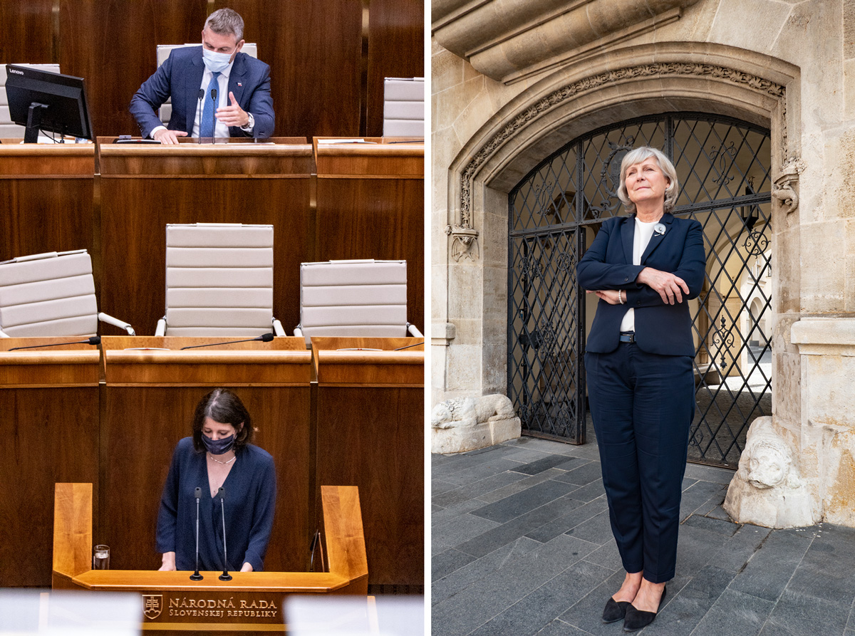 LEFT: Jana Žitňanská votes during a session of the National Council of the Slovak Republic, or Slovak parliament, moments after President Zuzana Čaputová gave her first Report on the State of the Slovak Republic address. RIGHT: Tatiana Kratochvilová, First Deputy Mayor of the City of Bratislava since 2018, stands in the square just outside of the Primate's Palace, the historic building that houses her office and those of other municipal leaders, on June 11. As a member of the Committee on Planning, Environment and Construction, Kratochvilová focuses extensively on environmental issues.