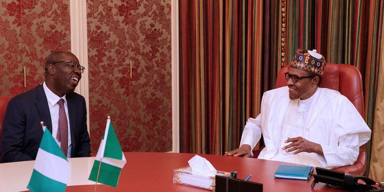 Finally, Obaseki meets Buhari, presents re-election bid form