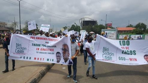Edo 2020: Youths storm major streets in Benin, canvass support for Obaseki's reelection