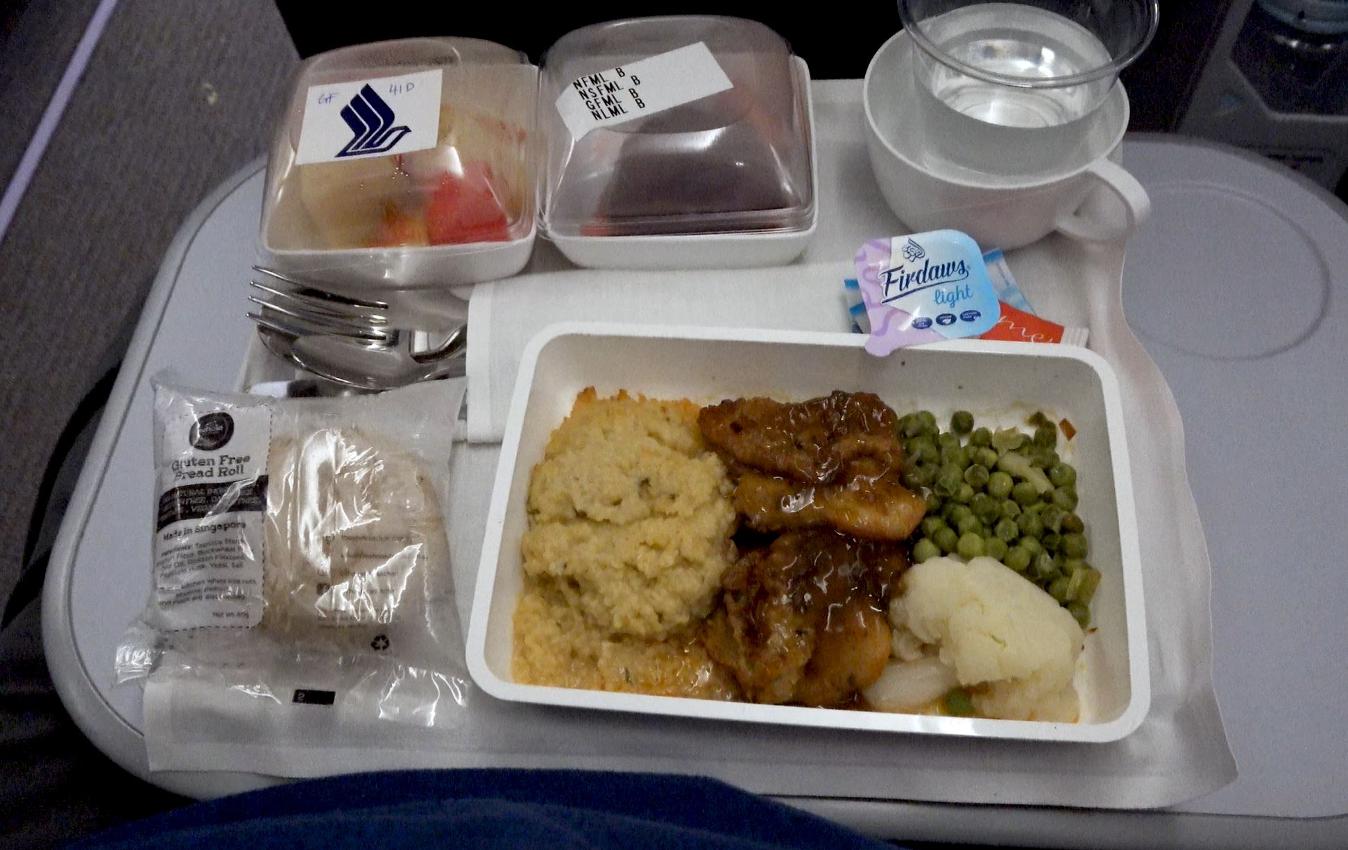 Singapore Airlines gluten free chicken supper