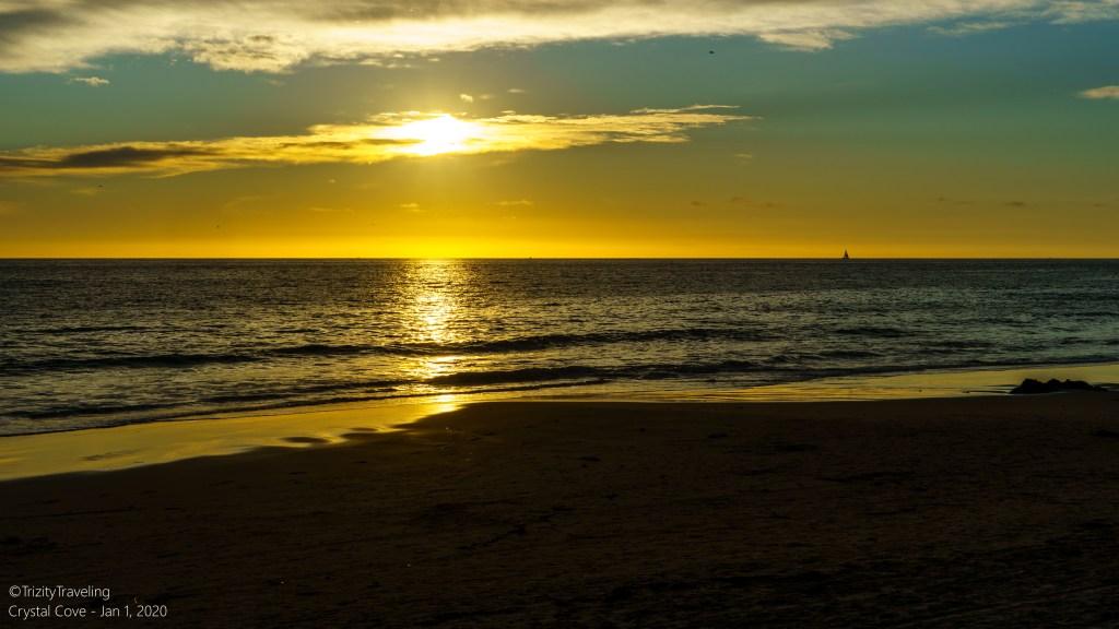 vivid sunset color on the beach