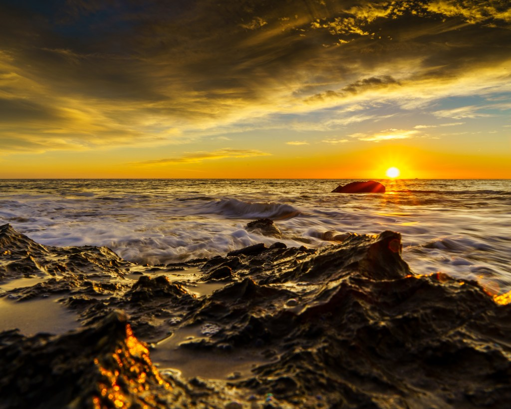 vivid color during a beach sunset
