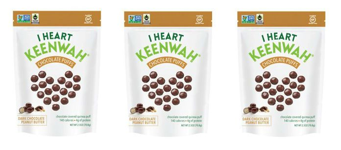Snack Spotlight: I Heart Keenwah Dark Chocolate Peanut Butter Quinoa Puffs