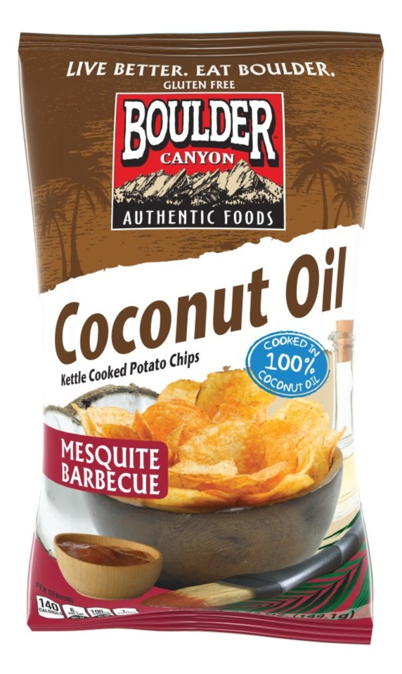 Boulder Canyon® Takes Traditional BBQ Potato Chips To New, Tastier Level With Introduction of Mesquite Barbeque Coconut Oil Variety (PRNewsfoto/Inventure Foods, Inc.)