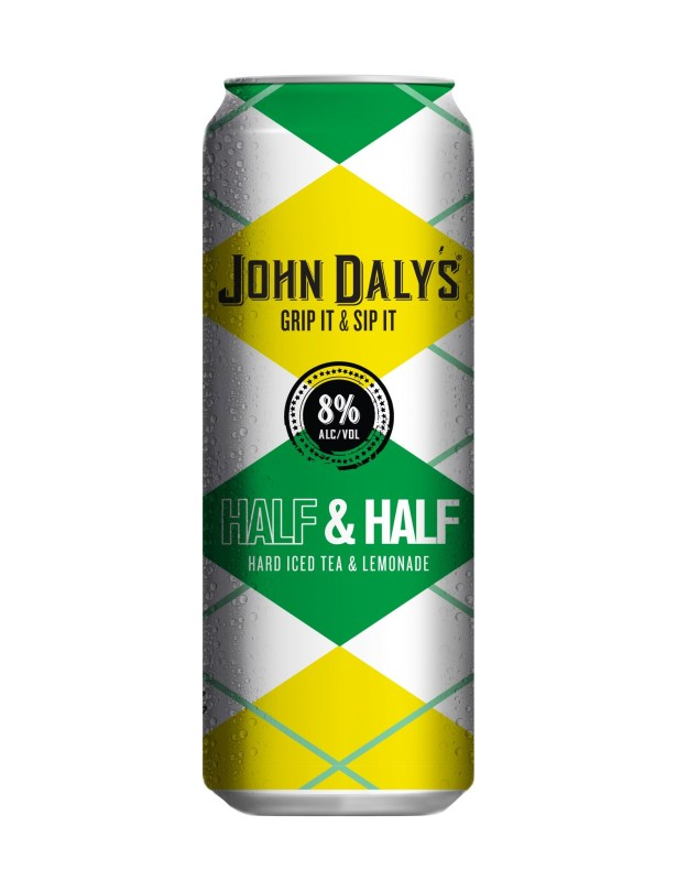 John Daly's New Grip it and Sip it Half & Half is in stores now nationwide. This is one of two flavors rolled out recently as part of the PGA Legend's partnership with Phusion Projects. The classic cocktail bearing John Daly's name comes in ready-to-drink 16 oz. cans and is made of alcohol, real black tea and lemonade. (PRNewsfoto/Phusion Projects, LLC)