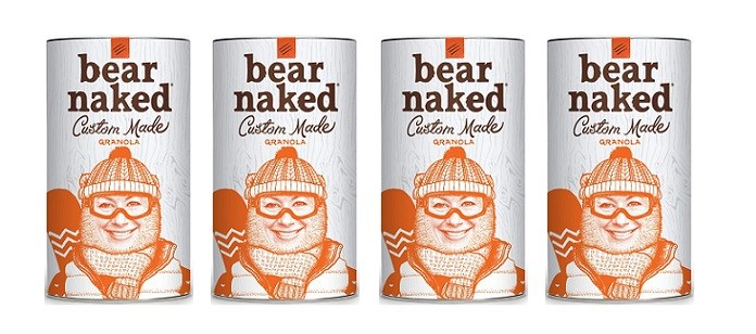 """Bear Naked Custom Made® Granola announced the addition of an unbearably fun feature to its direct-to-consumer platform, www.BearNakedCustom.com. Visitors can now """"bearify"""" a photo of themselves or a friend, donning accessories like mustaches, hats, wigs and more. They can also customize their own back-story and name the blend. Each creation is individually printed (and hand-blended) and shipped directly to the consumer. (PRNewsfoto/Bear Naked)"""