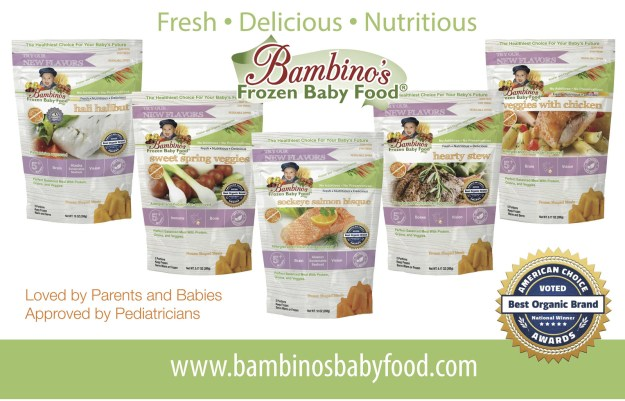 Bambino's Frozen Baby Food was developed by Zoi Maroudas, a former medical researcher and Mediterranean diet expert. Bambino's features organic ingredients exclusive to the baby food category such as wild Alaska salmon and halibut, and olive oil. Recommended by allergists and pediatricians, Bambino's is formulated to meet new guidelines for nutrient-rich, low-sugar, balanced meals for babies as early as four months of age. (PRNewsfoto/Bambino's Baby Food)