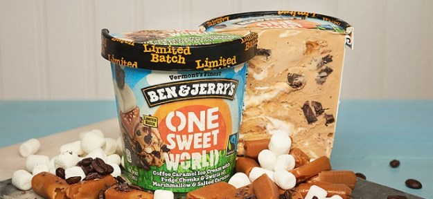 Ben & Jerry's One Sweet World is a delicious blend of coffee caramel ice cream with swirls of marshmallow and salted caramel with chocolaty chunks. (PRNewsfoto/Ben & Jerry's)