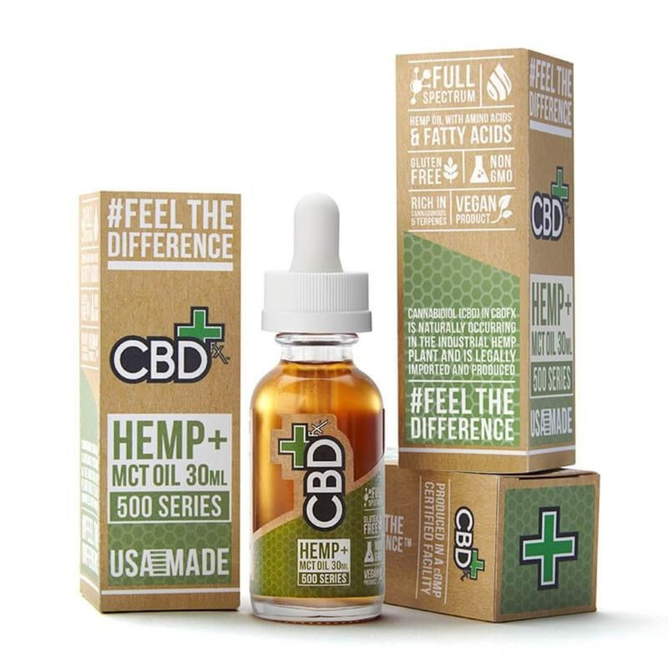 CBD Hemp + MCT Oil Tincture 30mL / 500mg (PRNewsfoto/CBDfx)
