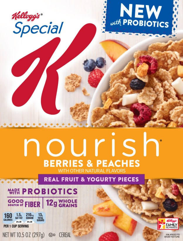 Special K Nourish® Berries & Peaches with Probiotics is only cereal from a leading brand to contain live and active cultures (PRNewsfoto/Kellogg Company)