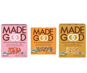 Strawberry Crispy Square, Caramel Crispy Square, Sweet & Salty Granola from MadeGood