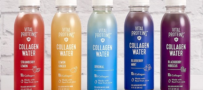 Vital Proteins Collagen Water makes it debut in five refreshing flavors - Strawberry Lemon, Lemon Ginger, Original, Blueberry Mint, Blackberry Hibiscus