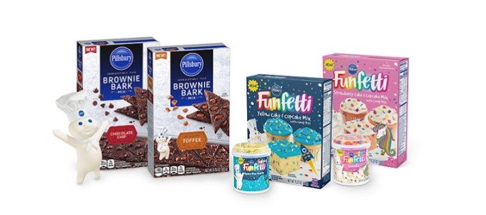 Pillsbury Baking launches new products— Pillsbury Brownie Bark Mixes, Funfetti™ Galaxy Frosting and Funfetti™ Yellow Cake Mix, and Funfetti™ Unicorn Frosting and Funfetti™ Strawberry Cake Mix. (PRNewsfoto/Hometown Food Company)