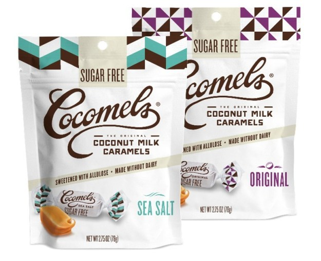 Sugar Free Original Caramels:  Cocomels' original, chewy coconut milk caramel, now crafted without both dairy and sugar!  So delicious you won't even be able to tell they're sugar free. Sugar Free Sea Salt Caramels:  Cocomels' top selling flavor, now without sugar.  A touch of sea salt added to an award-winning recipe creates a sublimely sugar free sweet and salty combo.